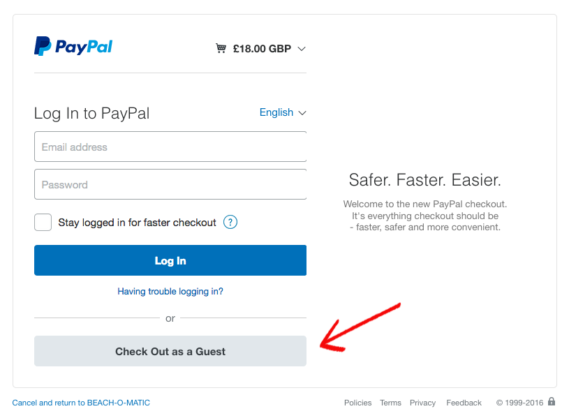 Paypal screengrab showing guest checkout